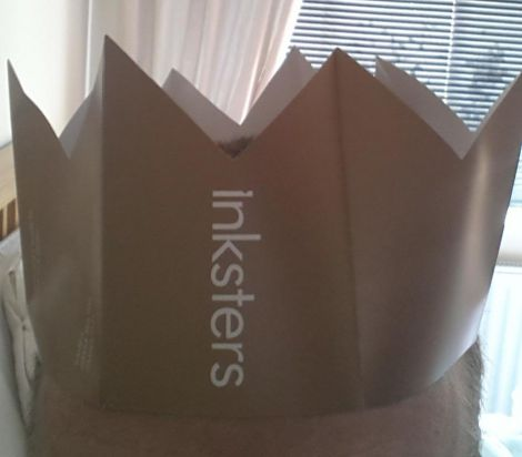 The Inkster Christmas Hat, as modelled on the @inksters Twitter account.
