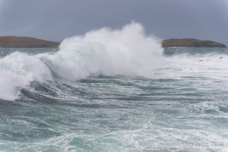 There were huge waves as winds gusted to around 100mph in places. Photo: Austin Taylor