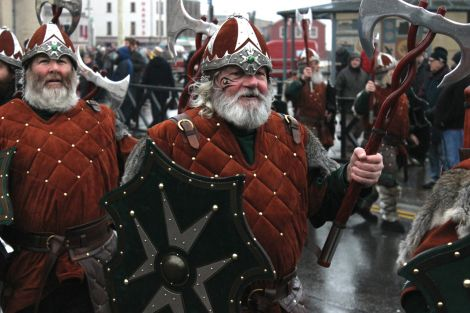 This year's distinctive Jarl's Squad suits include Celtic tattoos. Photo: Toby Sandison