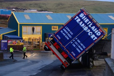A Shetland Transport lorry blown sideways by the wind. Photo: Mark Berry