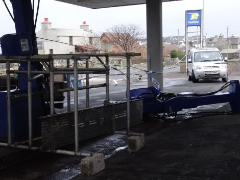 The petrol pumps at Sound Service Station took a fair old battering. Photo: Rita Smith