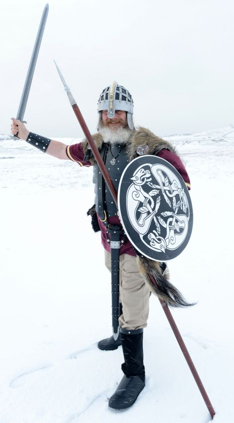 Well-armed! Jarl Ingvar Vittfarne wields his Damascus sword and spear. Photo Kevin Osborn