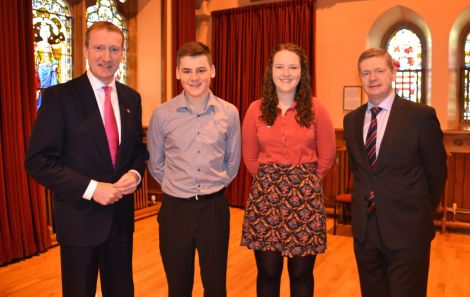 From left to right - Shetland MSP Tavish Scott, MYSPs Kelvin Anderson and Kaylee Mouat, and SIC convener Malcolm Bell. Photo: Shetnews/Neil Riddell