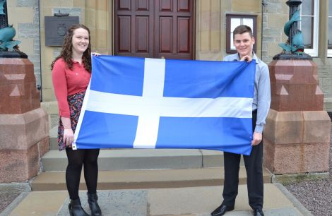 Kaylee Mouat and Kelvin Anderson enjoying their success at Lerwick Town Hall on Monday. Photo: Shetnews/Neil Riddell