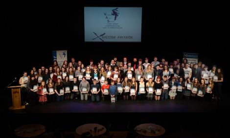 Many of the volunteers on stage at Mareel with their awards on Monday night.