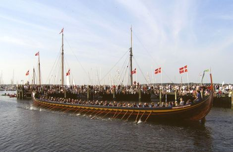 The reconstructed viking ship Sea Stallion, from Glendalough, in Ireland, seen here at Roskilde, Denmark - Photo: Davy Cooper, Shetland Amenity Trust