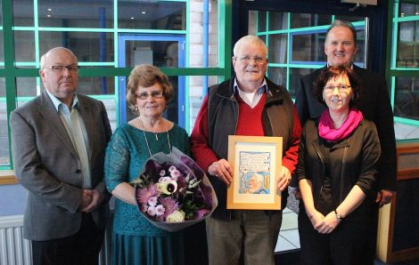 Ertie Nicolson was one of the original signatories of the trust deed that created the NAFC in the late 80s. From left: newly appointed joint chairman of NAFC Marine Centre Gordon Johnson, Margaret and Ertie Nicolson, Fiona Tulloch, and joint chairman Davie Sandison - Photo: NAFC Marine Centre