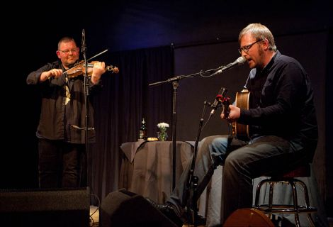 Saltfishforty duo Douglas Montgomery and Brian Cromarty on stage at Sandwick's Carnegie Hall on Sunday night. Photo: Dale Smith