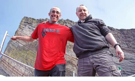 Simon Brentford (left) and  Darren Stafford after their daring challenge.
