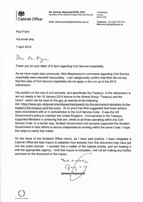 Sir Jeremy Heywood's reply to Paul Flynn MP - the last paragraph refers to the Carmichael leak inquiry.