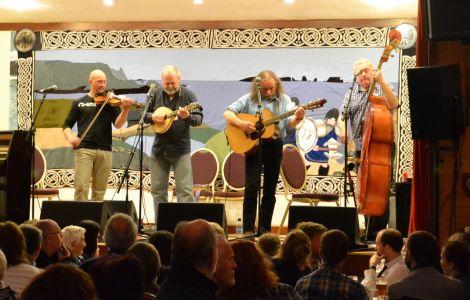 Hom Bru on stage at Cullivoe on Friday night. Photo: Shetnews