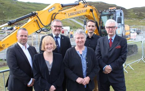Contracts signed, let work commence. The management team, from left: Hub North Scotland chief executive Angus MacFarlane, SIC children's services director Helen Budge, SIC leader Gary Robinson, SIC education and families chair Vaila Wishart, project manager Trevor Smith and SIC chief executive Mark Boden. Photo Shetnews