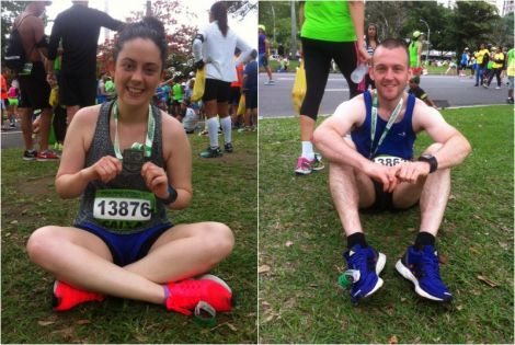 Shetland couple Annie McKee and Grant Johnson after completing the Rio half marathon on Sunday.