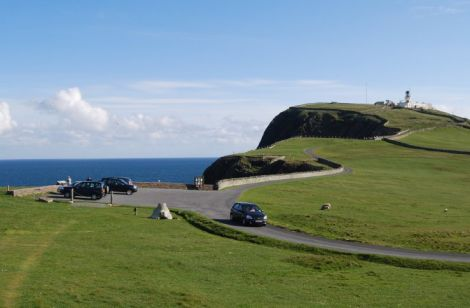 The car park at the foot of the hill leading up to Sumburgh Lighthouse, which is too much of a walk for many tourists on short visits to the world famous bird watching site. Photo Promote Shetland