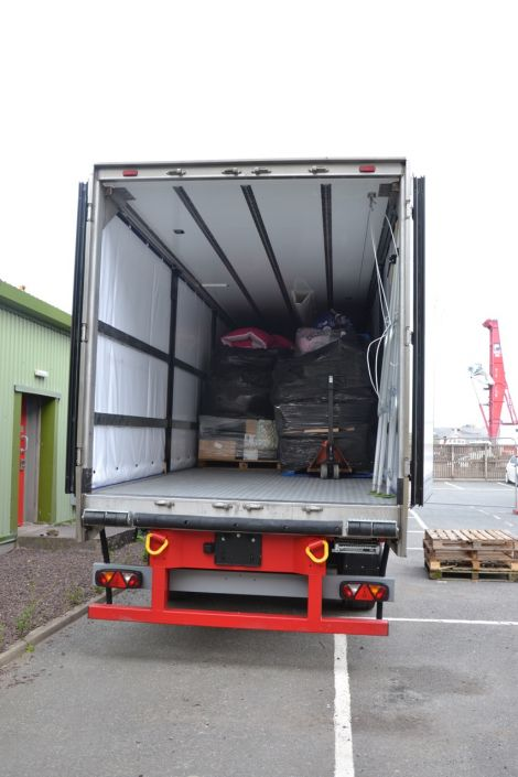 One of two trailers being shipped to Inverness and on to refugee camps around Europe. Photo: Shetnews