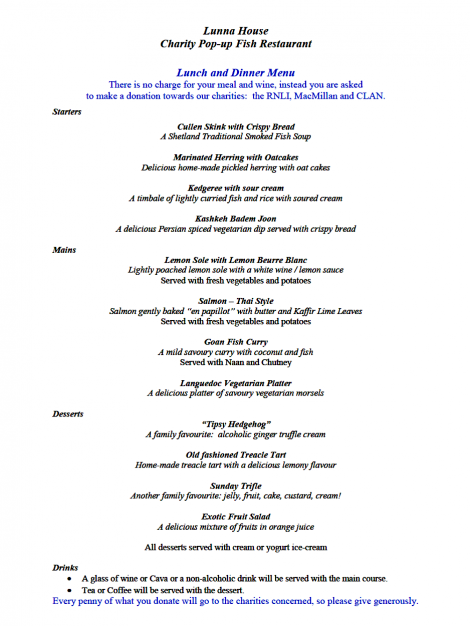 Lunna House 'pop-up' fish restaurant menu