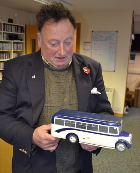A wooden Bedford bus made by Ian Smith from Troswick.