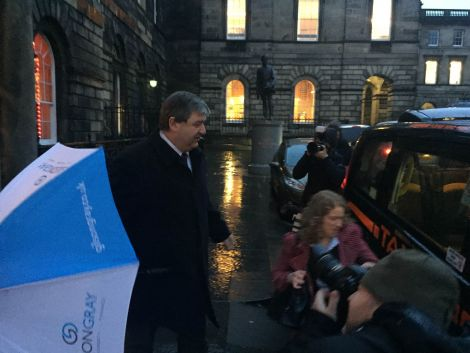 Alistair Carmichael leaving the Court of Session buildings on Monday evening. He will continue giving evidence on Tuesday. Photo: Michael MacLeod