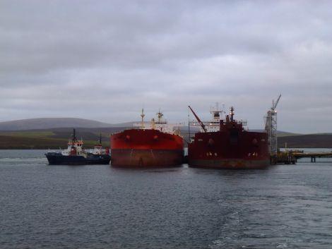 A ship to ship transfer at Sullom Voe. Photo John Bateson