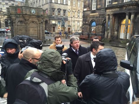Alistair Carmichael arriving at the Court of Session in Edinburgh last month.