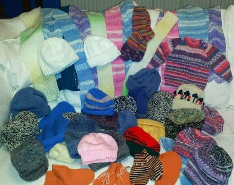 Some of the knitted goods donated in response to an appeal from Shetland Solidarity With Refugees group.