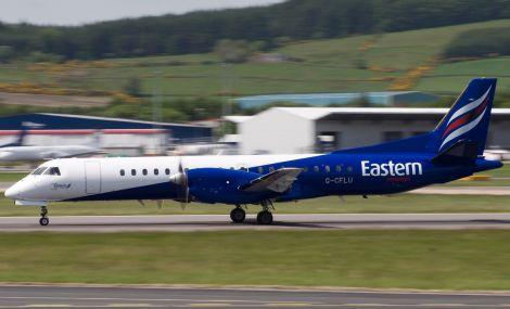 An Eastern Airways oil charter flight landing at Aberdeen airport.