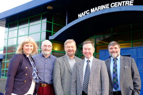 North Sea Commission marine resources group chairman Anders Fasth from Sweden (centre) and adviser Camilla Stavnes from Norway (left) with local councillors Drew Ratter (second from left) and Jonathan Wills (right) and NAFC director Willie Shannon (fourth from left). Photo courtesy of Shetland Islands Council.