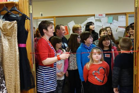 There was a large queue waiting as Sharon Deyell cut the ribbon to officially open this year's Swapshop.