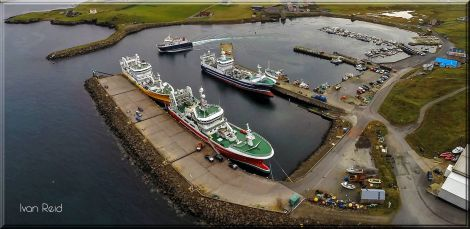 An aerial view of Symbister harbour - Photo: Ivan Reid