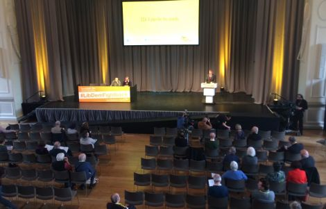 Tavish Scott addresses the Scottish Liberal Democrat party conference in Edinburgh on Friday.