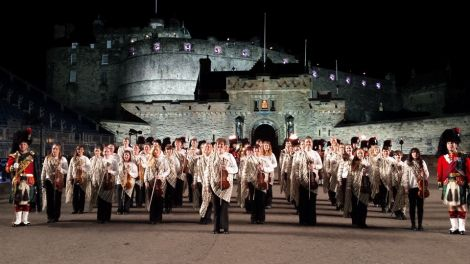 The Hjaltibonhoga fiddlers at the Edinburgh tattoo last summer.