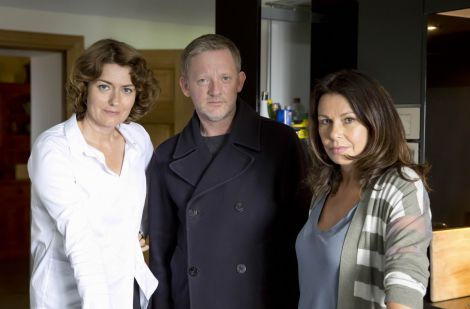 Three deaths, another rape, extortion and money laundering. That's a lot for any detective to deal with. Anna Chancellor as senior procurator fiscal Phyllis Brennan, Douglas Henshall as DI Jimmy Perez and Julie Graham as Shetland procurator fiscal Rhona Kelly - Photo: Mark Mainz/ITV Studios