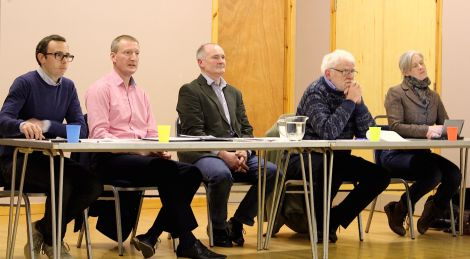 Saturday night's Althing hustings at the tingwall hall (from left to right): Cameron Smith (Conservatives), Tavish Scott (LibDems), Althing chairman Andrew Halcrow, SNP candidate Danus Skene and Robina Barton (Labour) - Photo: ShetNews