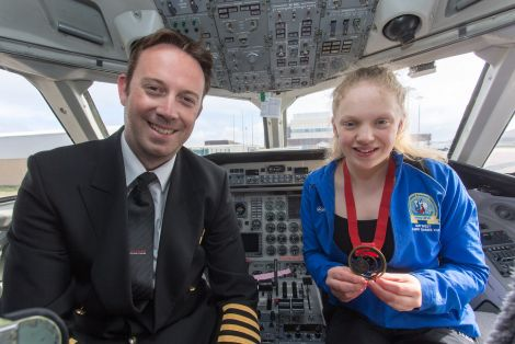 Errand with Loganair pilot Kurray Gibbons on her first sponsored flight this week to attend the para swimming championships in Glasgow.