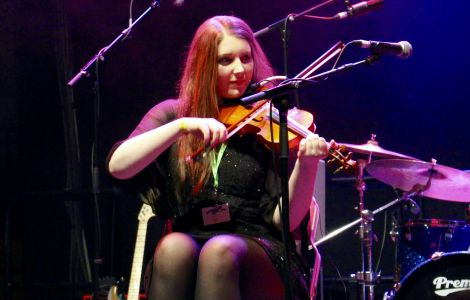 Talisk fiddler Hayley Keenan in full flow at Friday night's Clickimin gig in Lerwick. Photo: Shetnews
