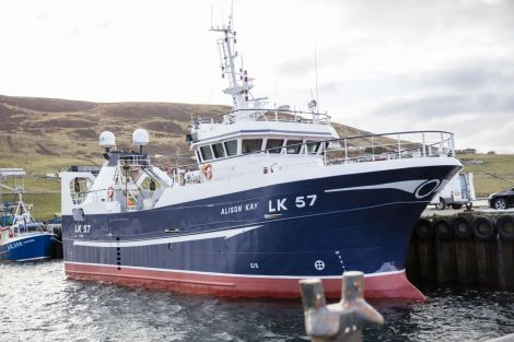 The newly lengthened Alison Kay vessel at Scalloway last month - another sign of an industry with a vibrant future.