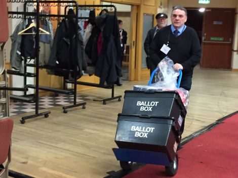 The first ballot boxes arriving at the count at Clickimin shortly after 10pm on Thursday. Photo: Shetnews/Hans J. Marter