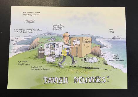Tavish Scott's colourful postcard.