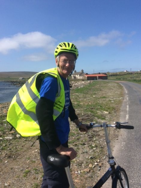 Peace campaigner Andrew Greig setting off on his 1,100 mile journey in northern Unst on Thursday.
