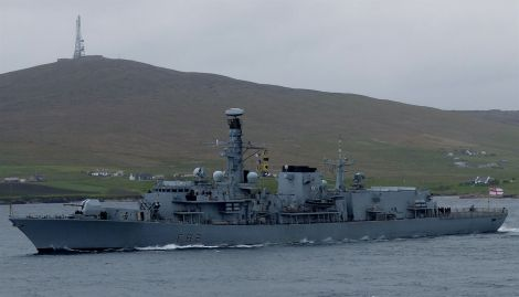 HMS Somerset steams past Bressay on her way into Lerwick harbour. Photo Linda Fox.
