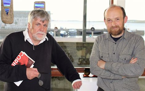 Archivist Brian Smith and museum curator Ian Tait after their talk on Tuesday night - Photo: Chris Cope/ShetNews