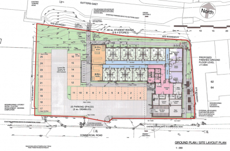 The UHI hostel's ground plan including 25 parking spaces.
