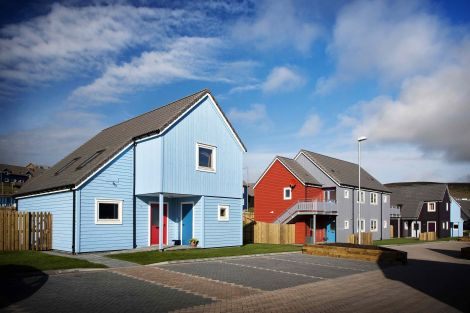 The Grodians scheme, next to the Baptist Church at Quoys, is one of two Richard Gibson Architects schemes to feature in a national exhibition. Photo courtesy of Hjaltland Housing Association