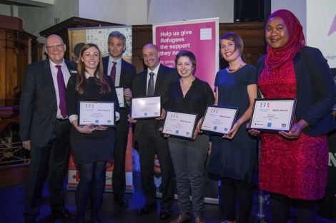 Jen Stout, third from right, was highly commended in the online category of Refugee Festival Scotland's 2016 media awards.