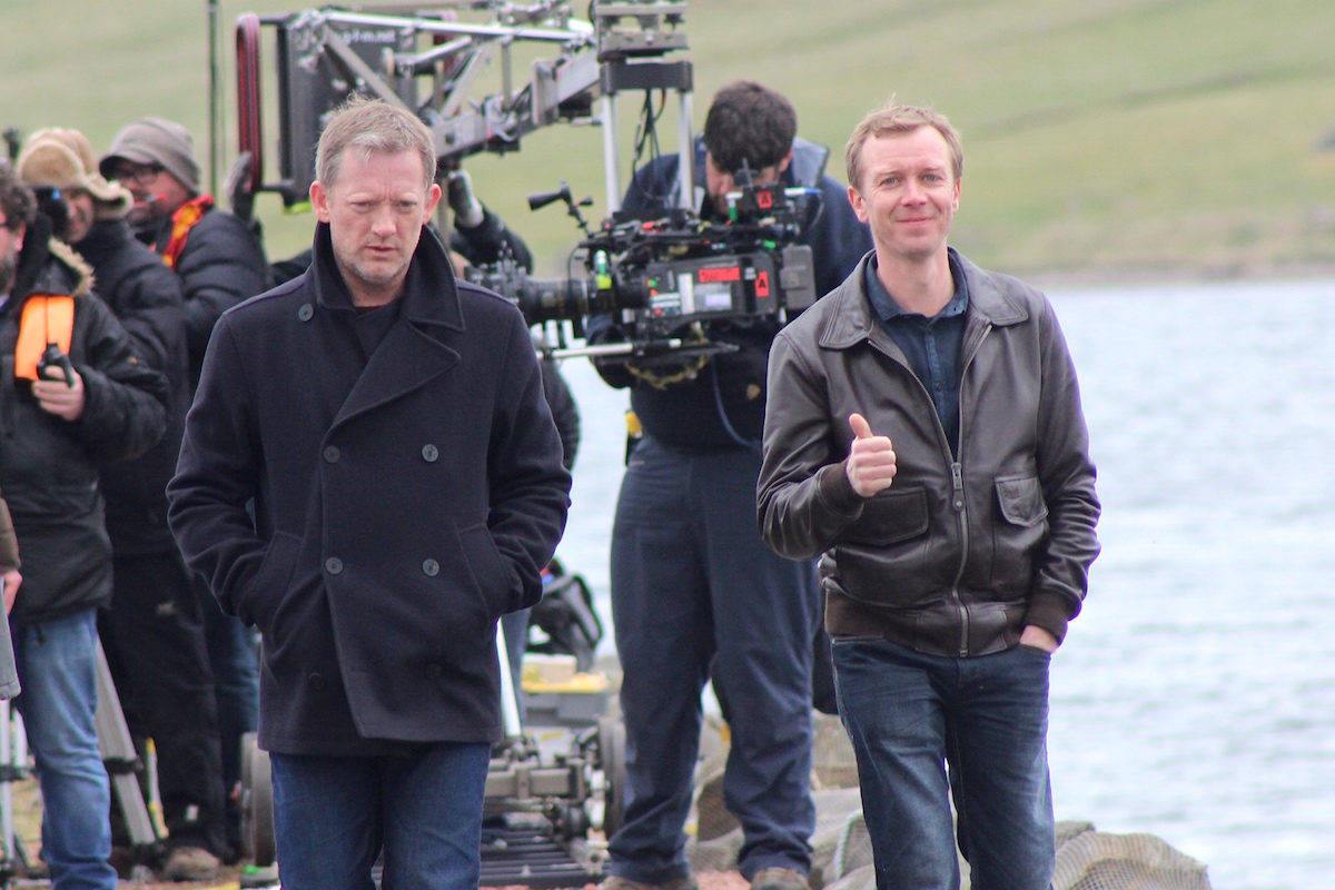 Lead actor Douglas Henshall and Steven Robertson on set during filming for the last series. Photo courtesy of BBC.