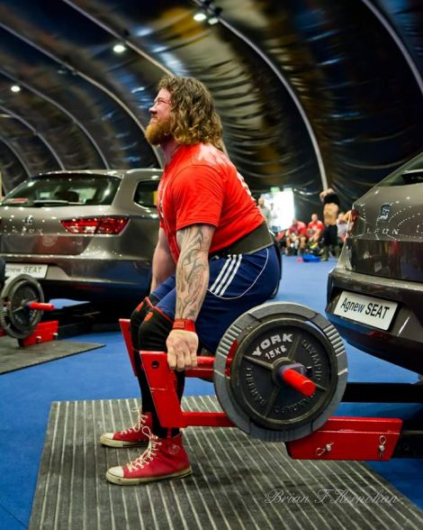 Dhanni Moar competing in the Car Deadlift category, in Belfast on Sunday.