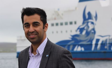 Islands minister Humza Yousaf on a visit to Shetland earlier this month. Photo: Shetnews/Hans J Marter