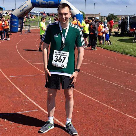 Danny Sandison after completing the Peterhead half marathon.
