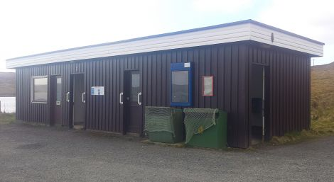 Laxo ferry terminal waiting room and public toilets.