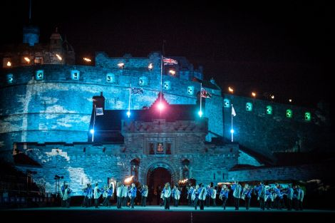 The Shetland fiddlers performing beneath the shadow of Edinburgh Castle at this year's tattoo. Photo: Martin Scott Powell / The Royal Edinburgh Military Tattoo.